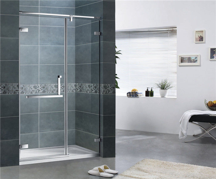 Customized Clear Tempered Glass Shower Screen 10MM 180 Degree Magnetic Seal Swing Door