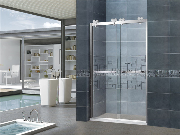 8mm Clear Sliding Glass Shower Doors Double Move Screen With Big Hanging Wheels for Home