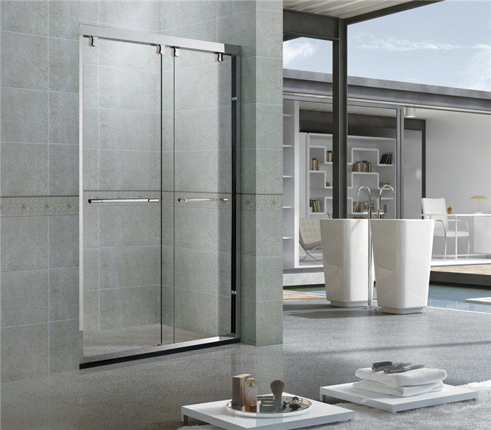 Bright Stainless Steel Profiles Sliding Shower Doors With Double Nano Clear Glass for Hotel